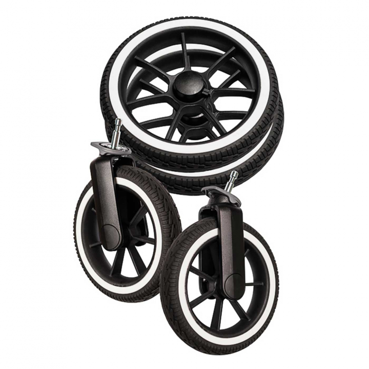 Emmaljunga NXT60/F Hjulpaket Black / White 4 st 2022