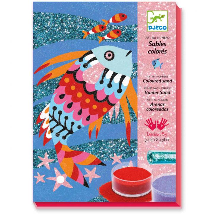 Djeco Färglägg med sand & glitter Fisk