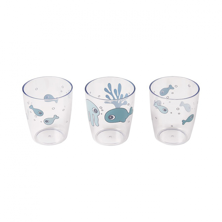 Done by Deer Yummy Mini Glas Sea Friends Blå 3-pack